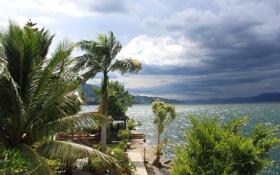 Обои облака, горы, тучи, озеро, тропики, пальмы, Индонезия