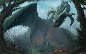 Обои деревья, горы, природа, земля, дракон, арт, рога