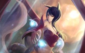 Обои Ahri, девушка, лисичка, хвосты, art, fukafusa, магия