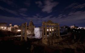 Обои ночь, Рим, Италия, колонны, руины, Форум