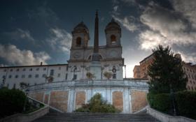 Обои облака, небо, Рим, ступени, обелиск, Испанская лестница, Италия