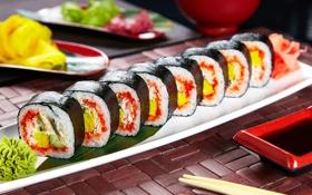 Обои суши, роллы, начинка, соевый соус, нори, вассаби