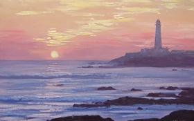 Обои море, закат, природа, камни, скалы, маяк, арт