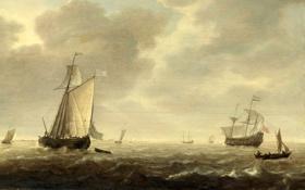 Картинка пейзаж, парус, небо, волны, море, парусник, корабль