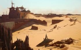 Картинка пустыня, здание, человек, верблюд, uncharted 3