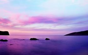 Обои закат, камни, небо, облака, море