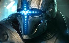 Картинка металл, неон, арт, шлем, броня, TamplierPainter