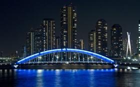 Картинка ночь, город, небоскребы, Япония, подсветка, Токио, Tokyo