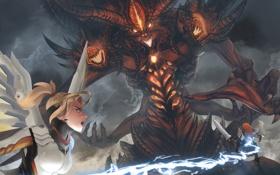 Картинка Sonya, diablo, medic, Heroes of the Storm, overwatch, Mercy, Wandering Barbarian