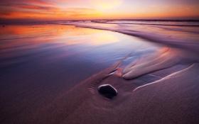 Обои песок, пляж, последние лучи, тихий океан, закат, выдержка, вечер