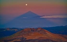 Картинка тень, Тенерифе, Пико Вьехо, Маунт Тейде, Канары, горы, Луна
