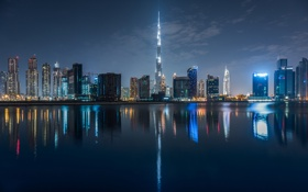 Обои city, lights, night, dubai, reflection