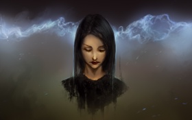 Картинка девушка, брюнетка, арт