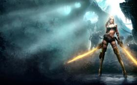 Обои девушка, Dark, мечи, Brunette, Warrior, Blades, Blade of Time