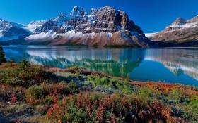 Обои горы, скала, озеро, гора, Канада, Canada, природа.