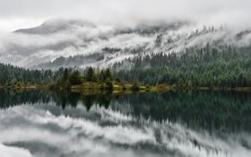 Обои облака, деревья, горы, озеро, отражение, зеркало, сосны
