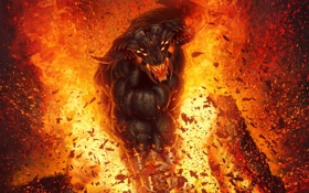 Обои осколки, огонь, ярость, рога, Демон