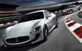 Обои небо, тучи, Maserati, поворот, трек, GranTurismo, мазерати