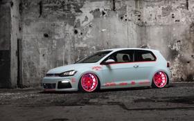 Картинка Tron, Light, Volkswagen, Golf, MkVII, tuning, Low Car