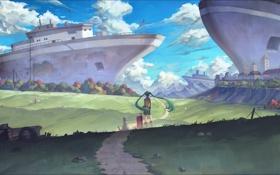 Картинка небо, девушка, облака, пейзаж, собака, корабли, аниме