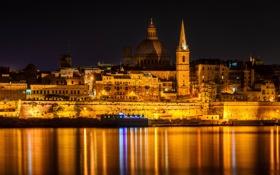 Обои море, ночь, огни, башня, дома, купол, Мальта