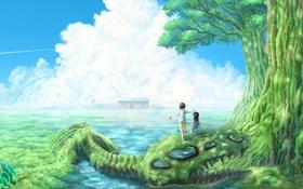 Картинка вода, пейзаж, дети, дерево, заросли, арт, скелет