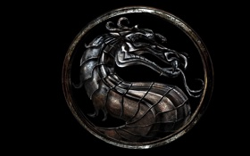 Обои дракон, символ, Mortal Kombat, Dragon Logo, черной фон