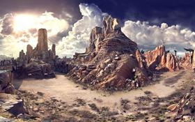 Обои Clouds, Rage, Rocks, Apocalypse, Desert, Sun Sky, Free View