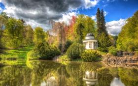 Картинка деревья, парк, отражение, Schlosspark Wilhelmshöhe