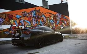 Обои тойота, GT 86, графити, черная, black, профиль, Toyota