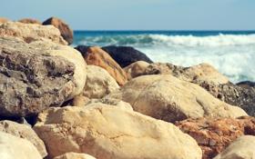Картинка природа, камни, волны, разные, море