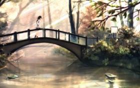 Картинка осень, девушка, солнце, мост, речка, art, kikivi