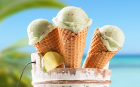 Картинка рожок, мороженое, долька лайма
