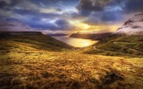 Картинка закат, горы, океан, равнина, Дания, Faroe Islands, Фарерские острова