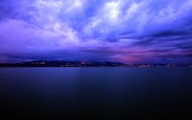 Обои тишина, горизонт, города, даль, ночь, вода, огни