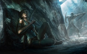 Картинка Tomb Raider, silence, knife, cave, creatures