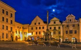 Обои колонна, ночь, Чехия, огни, площадь, скамья, дома