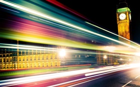 Картинка ночь, город, огни, полосы, англия, скорость, лондон