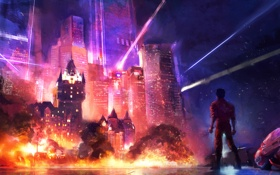 Картинка взрыв, город, anime, akira, Neo-Quebec
