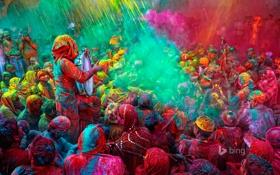 Обои люди, краски, весна, Индия, фестиваль, holi festival