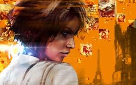 Обои взгляд, девушка, воспоминания, город, волосы, Эйфелева башня, шрам