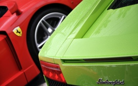 Обои ferrari e lamborghini, fiberglass, car, Red, paint, metal, green