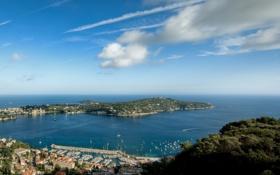 Картинка море, природа, город, дома, яхты, залив