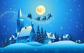 Обои Reindeer, новый год, snowman, new year, santa claus, деревья, vector