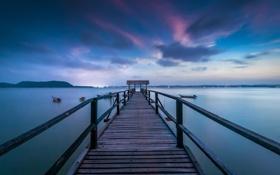 Картинка пейзаж, озеро, пирс