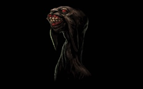Обои dark, red, eyes, creature, teeth