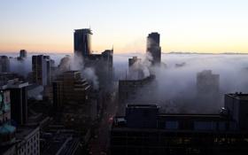Обои авто, жизнь, город, здания, дороги, утро, горизонт