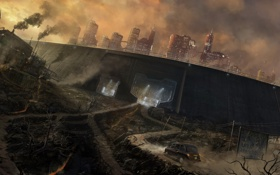 Картинка дорога, машина, город, фантастика, стена, арт, sci-fi