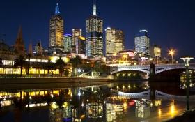 Обои Мельбурн, река, ночь, Melbourne Night life, огни, город, мост