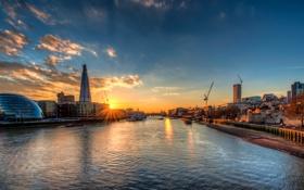 Обои закат, англия, лондон, london, sunset, england, Thames River